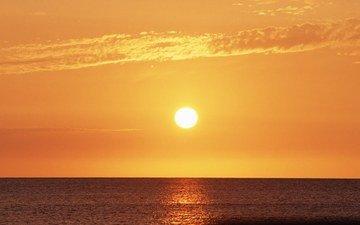 небо, облака, солнце, природа, закат, пейзаж, море, горизонт, океан