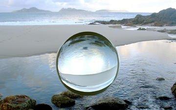 пляж, сфера, шар, стеклянный, компьютерный дизайн
