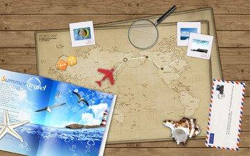дизайн, лето, путешествия, коллаж, графический, фотокомпозиция