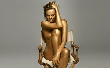 девушка, взгляд, стул, шарлиз терон, charlize, терон
