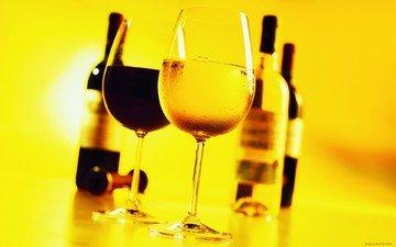 вино, бокалы, бутылки, алкоголь, белое и красное вино