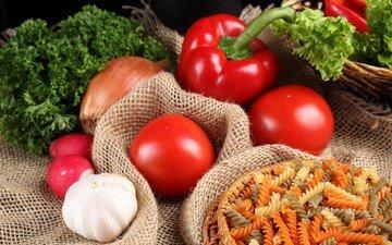 зелень, лук, овощи, помидоры, перец, чеснок, макароны