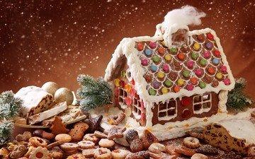 новый год, сладости, праздник, рождество, печенье, выпечка, бисквит, снегопад, пряники, пряничный домик, сладкий домик, порошок