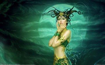 арт, украшения, девушка, фентези, луна, рога, прическа, красивая девушка, yuehui tang, tang yuehui - butterfly