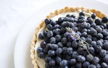 цветы, лаванда, ягода, черника, тарелка, сахар, пирог, тарталетка, сладенько, выпечка.