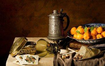 карты, трубка, стакан, мандарины, натюрморт с мандаринами