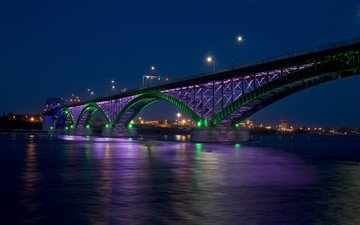 night, lights, bridge, the city, bay, canada, peace bridge