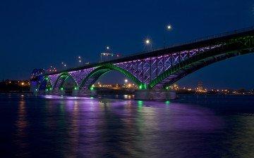 ночь, огни, мост, город, залив, канада, пис-бридж
