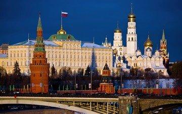 москва, кремль, мост, город, флаг, россии, город москва, столица россии