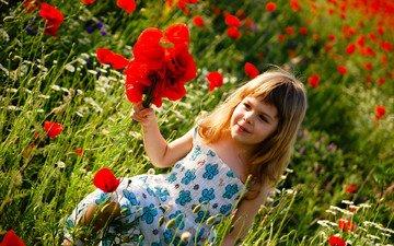 цветы, поле, лето, дети, девочка, ребенок, счастье, детство