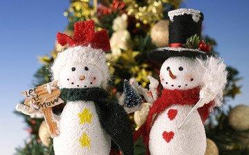 новый год, елка, снеговик, елочки, рождество, снеговики, встреча нового года, елочная