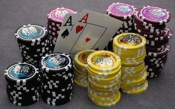 казино, покер, фишки, карты, игра, туз