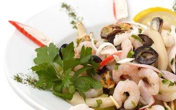 из, салат, морепродуктов