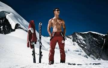 горы, снег, спорт, лыжи, красавчик