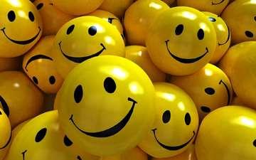 шары, фон, улыбка, желтые, 3д, смайлики