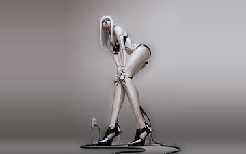 девушка, робот, 3д