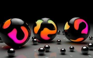 цвета, фон, шарики, сфера, шар, поверхность, 3д, глянцевые