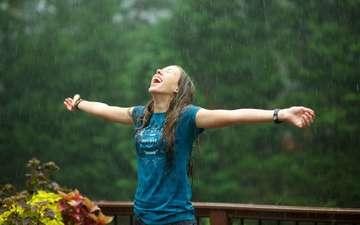 девушка, настроение, радость, дождь, волосы, мокрая