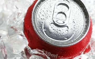 макро, лёд, банка, кока-кола