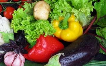 овощи, баклажан, перец, картофель, салат, чеснок