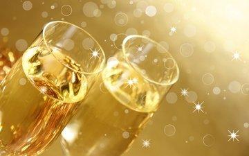 бокалы, шампанское, фужеры, золотистый фон