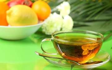 фрукты, чашка, чай