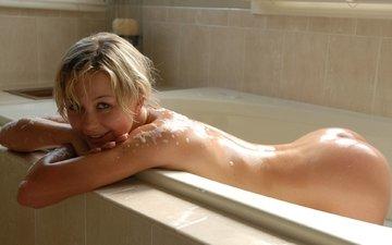 девушка, блондинка, ванна, обнаженная