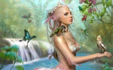 девушка, птичка, цветочки, sophia kolokouri - the lady bird