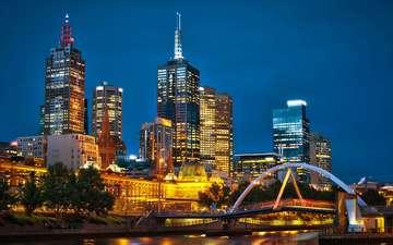 ночь, австралия, мельбурн