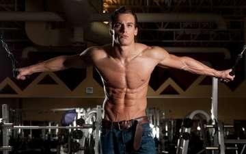 спортсмен, пресс, мышцы, качек