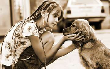 dog, sepia, girl, friendship