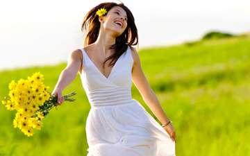 цветы, девушка, радость, букет
