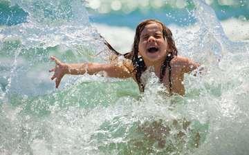 море, радость, девочка, ребенок, купание