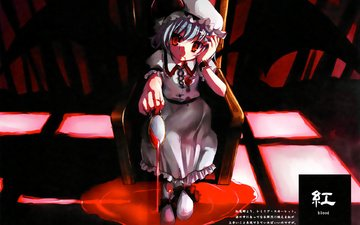 ribbons, vampire, hat, red eyes, blue hair, wings, remilia scarlet, dress, short hair, touhou