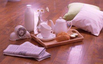 подушки, утро, кофе, часы, ромашка, чашка, завтрак, молоко, уют, газеты