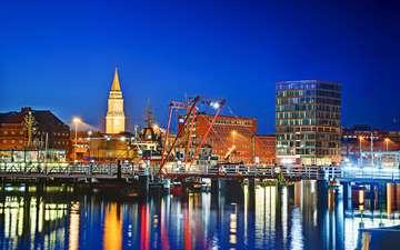 ночь, огни, город, гавань, киль-фьорд