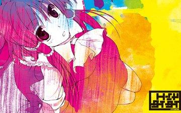 japanese clothes, красные глаза, miko, hakurei reimu, красные волосы, тохо