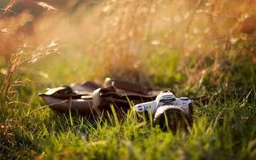 трава, фотоаппарат, камера, канон