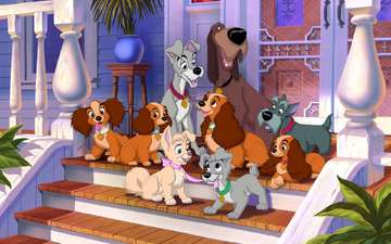 cartoon, house, puppies, heroes, lady, characters, dogs, disney, porch, lady and the tramp, hobo, jock, trustee