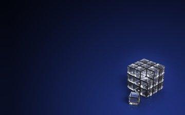 кубики, квадраты, стекло, куб, синий фон, квадратики, 3д, стеклянный