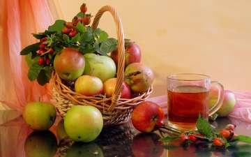 фрукты, яблоки, шиповник, ягоды, чай, натюрморт
