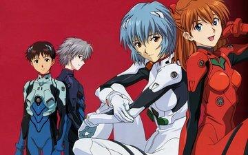 neon genesis evangelion, ayanami rei, красные глаза, голубые волосы, bodysuit, ikari shinji, nagisa kaworu, soryu asuka langley, красные волосы, глаза голубые