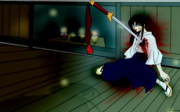меч, кроваво, оружее, japanese clothes, kamiya kaoru, rurouni kenshin