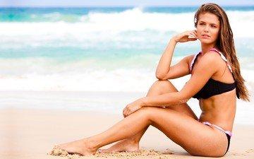 берег, волны, девушка, песок, пляж, купальник