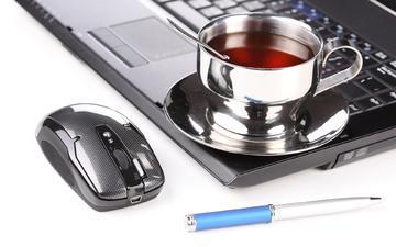 ручка, стол, офис, мышь, чай, ноутбук