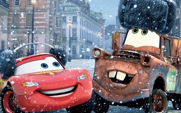 snow, winter, cartoon, cars-2, cars2, lightning mcqueen, mater