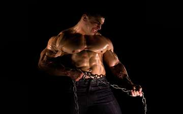 взгляд, лицо, мужчина, цепь, сила, мышцы, цепи.