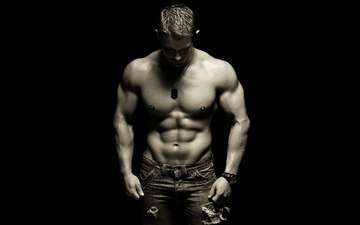 парень, чёрно-белое, мужчина, мышцы