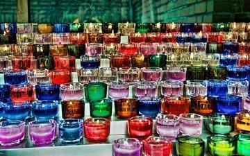свечи, разноцветные, много, окрас, огоньки