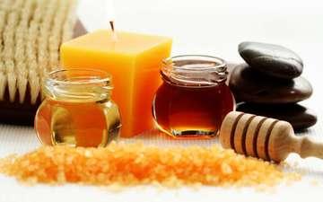 камни, масло, свеча, мед, спа, камушки, щётка, баночки, морская соль, массаж.